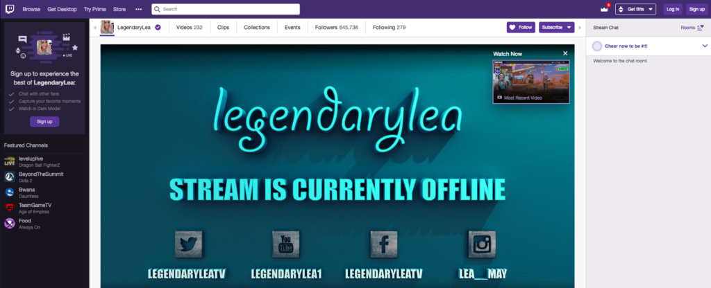 LegendaryLea female streamer