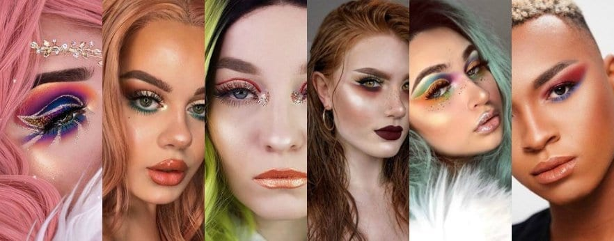 An image of six Instagram beauty influencers from 2019