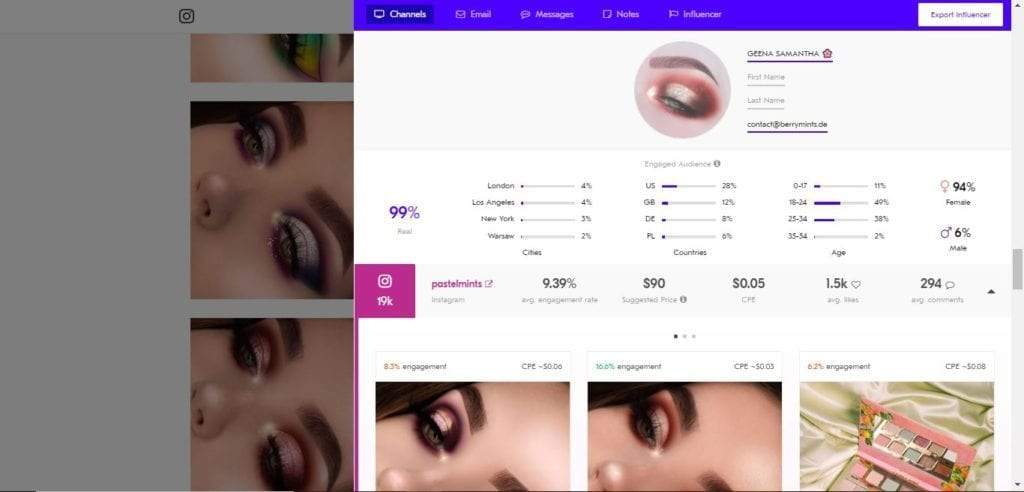 25 Beauty Instagram Micro-Influencers to Follow in 2019 - Beauty influencer Geena Samantha