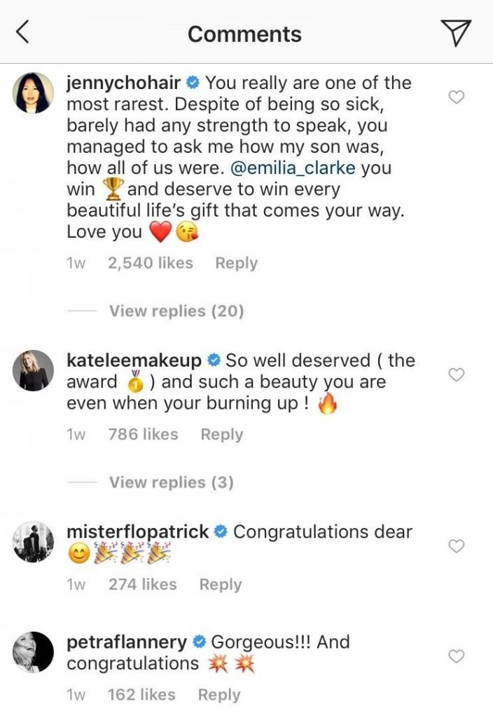 Example of authentic comments on an instagram post