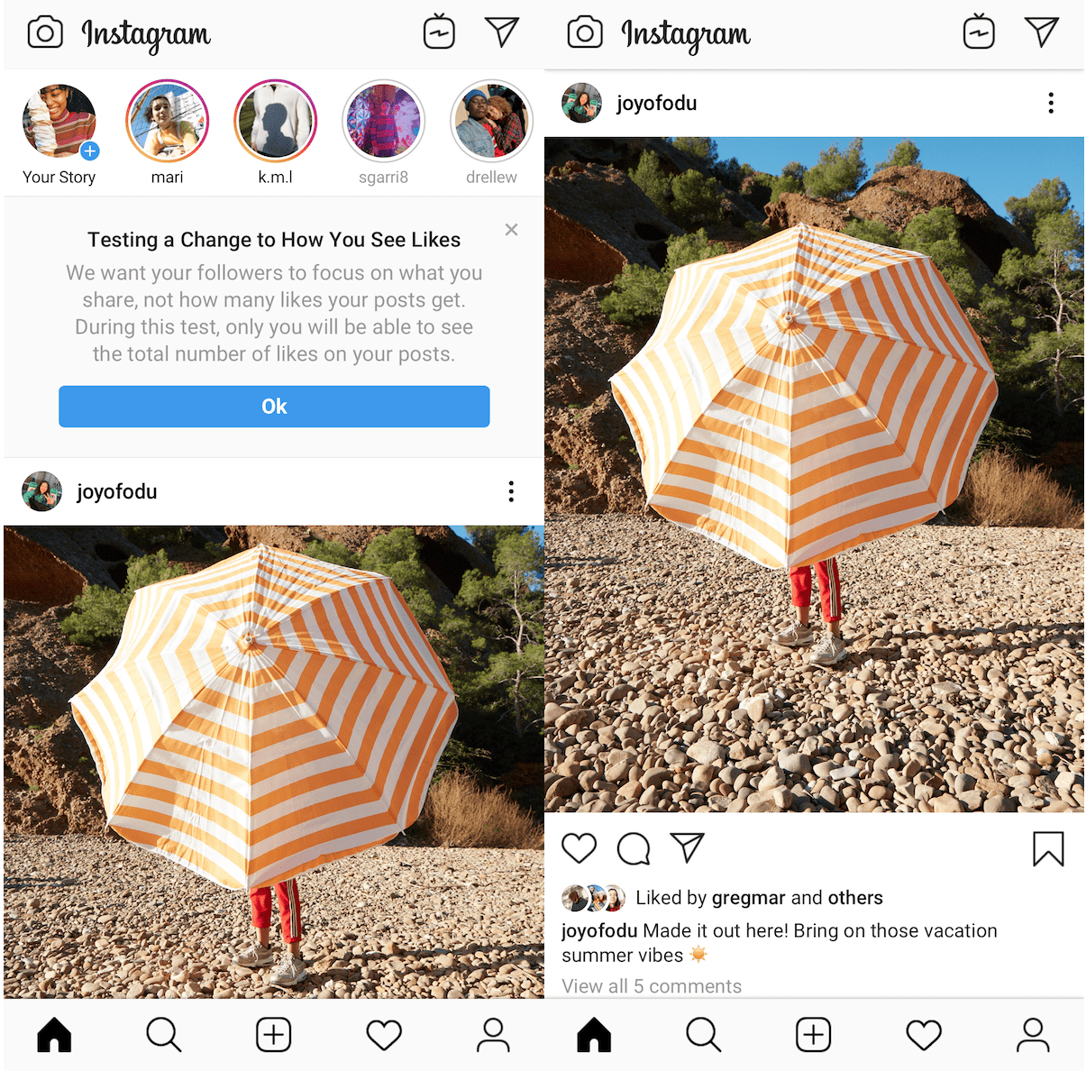 instagram hidden likes test notification