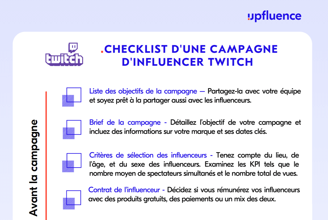 Twitch influencer checklist